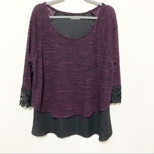 Maurices Purple & Black Heather Crochet Sleeve Top